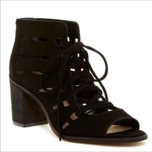 Vince Camuto Suede Lace Up Peeptoe Boot sz  7.5